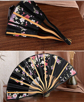 New Chinese Bamboo Folding Silk Flower Pattern Hand Fan Wedding Party Gift Black