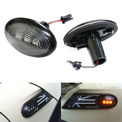 Black Smoked Side Marker Lamps w/Amber LED Lights For 2006-2014 MKII MINI Cooper