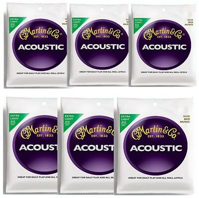 6 Sets Martin M170 80/20 Bronze  Extra Light Acoustic Guitar Strings 10 - 47 x 6