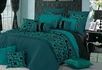 Lyde TEAL Green Quilt Cover Black Flocking duvet cover set - Queen / Super King