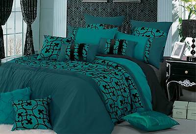 Queen / super King Lyde TEAL Quilt Cover Set - black flocking duvet cover design
