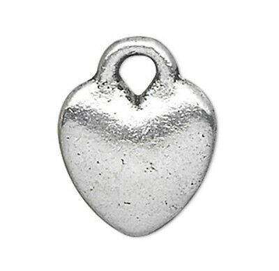 50 Antiqued Silver Plated Pewter Double Sided 8x8mm HEART Charms