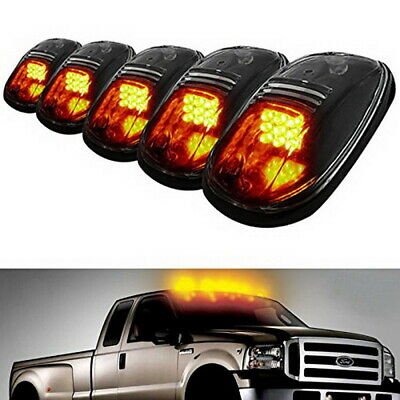 5x Amber LED Cab Roof Marker Running Lights For Truck SUV 4x4, Black Smoked Lens