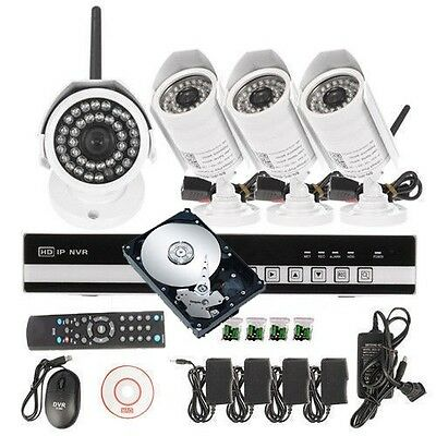 1TB HDD+ HD 4CH Network NVR CCTV DVR IR Wireless Outdoor Security Camera System
