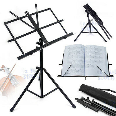 New Folding Professional Adjustable Music Sheet Stand Holder Black Portable OZ