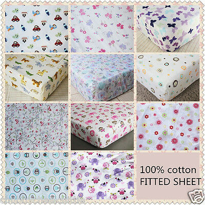 Brand New Baby Crib Cot Bed Fitted Sheet 100% Cotton Boys/Girls 11 designs