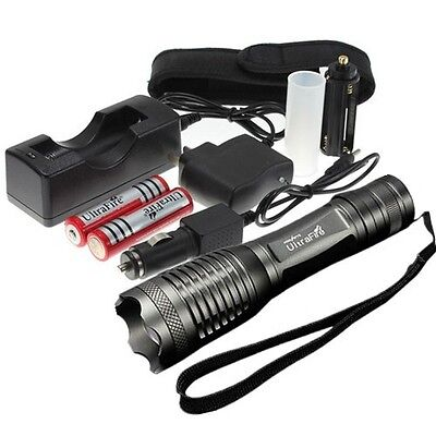 2200LM UltraFire CREE T6 LED Zoomable Torch Flashlight Light+Car Charger+2x18650