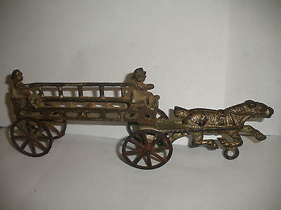 Antique Early Iron Horse Drawn Fire Hose Wagon With Firefighters