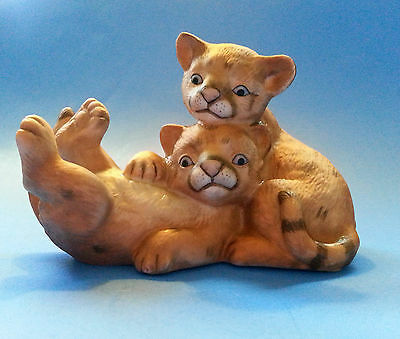 Curious Cougars Baby Cat Cubs Playing Masterpiece Porcelain Figurine 1993 Homco