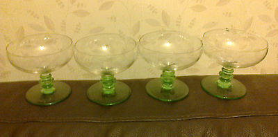 4 X VINTAGE CHAMPAGNE/COCKTAIL GLASSES ON GREEN 3 DISC STEM STUNNING