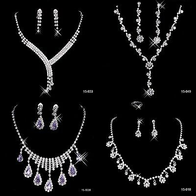 Silver Wedding Bridal Rhinestones Necklace Earrings Jewelry Sets for Women Prom