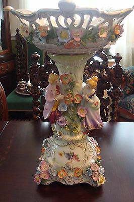 Pedestal Monumental Bowl KPM reproduction,  courting couple and flowers