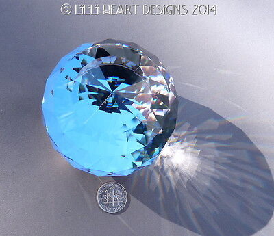 Swarovski Crystal RARE 70MM Malibu Blue Color Paperweight Lilli Heart Designs