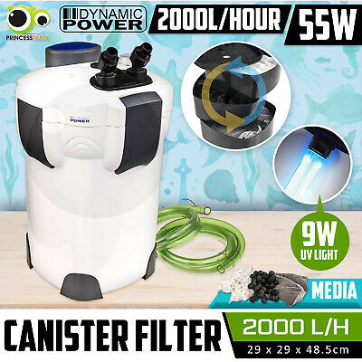 Aquarium External Canister Filter Aqua Fish Tank UV Light +MEDIA KIT 2000L/H