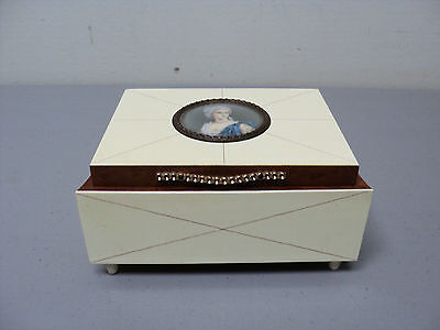 UNUSUAL ART DECO PERIOD WOOD & CELLULOID JEWELRY BOX with PORTRAIT MEDALLION