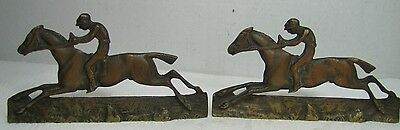 Vintage Jockey riding Horse Bookends brass copper wash ornate detailing rare htf