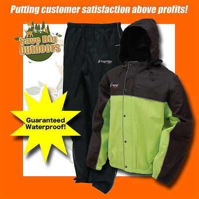 L Frogg Toggs Leep 2 Tone Green Black Road Toads Toad Motorcycle Rain gear suit