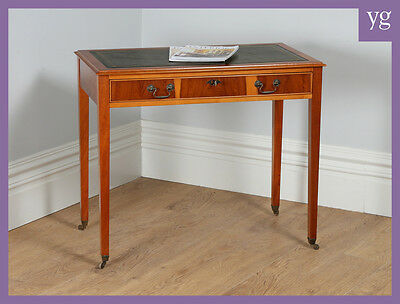 Georgian Style Cherry Wood 3' Hall Console Writing Leather Side Table Study Desk