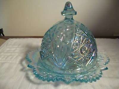 CARNIVAL GLASS,   IMPERIAL,  COVERED BUTTER DISH,  ICE BLUE, IRIDESCENT FEATURES