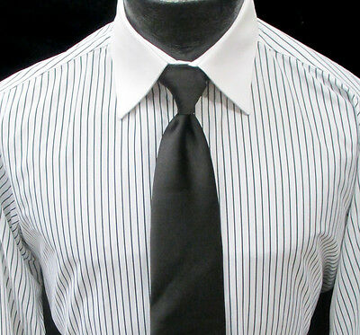 White Striped Laydown Collar Formal Tuxedo Shirt Wedding Prom M(15-15.5) 32/33