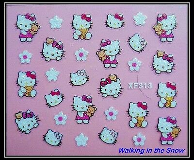 Cute Hello Kitty Bear Cat & Flower with Glitter - Nail Art 3D Sticker XF313