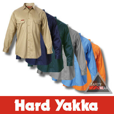 Hard Yakka Shirt Cotton Drill Work Shirt Long Sleeve Y07500 Safety Clothes Trade