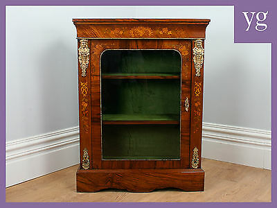 Antique Burr Walnut Inlaid Victorian Pier Cabinet Vitrine Bookcase Display Case