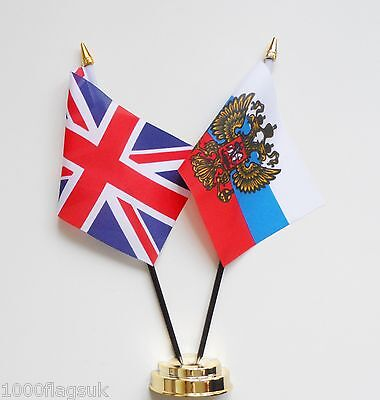 United Kingdom & Russia Presidential Standard Double Friendship Table Flag Set
