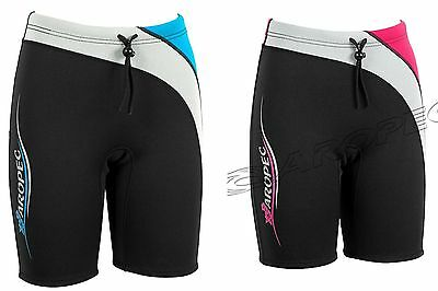 Ladies Aropec 2mm Neoprene Wetsuit Shorts - Black/Silver with Blue or Pink