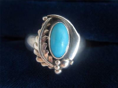 GEORGE BILLY JR / GBL NAVAJO STERLING SILVER RING W/ SLEEPING BEAUTY TURQUOISE