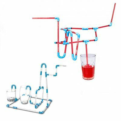 DIY Straws Party Straw Construct & Build Flexible 30 pcs Kids Puzzle Game