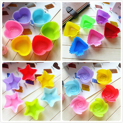 Variety Colorful Silicone Cup Cake Muffin Mould Tray Baking Pudding Valentine