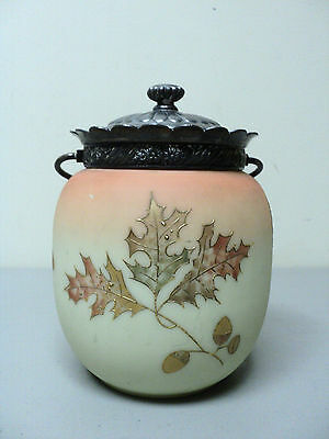 "Signed Mt. Washington ""Crown Milano"" Burmese Cracker Jar / Biscuit Barrel"