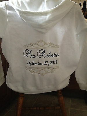 Personalized Bridal Bride Mrs. Soon to be Hoodie Hoody Sweatshirt Zip up front