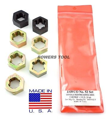 Jawco #52 Spindle Rethreading Die Set Thread Restore 7pc MADE IN USA Metric SAE