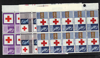 1963 GB RED CROSS Set 3v Unmounted Mint BLOCKS 10 Ref:E35