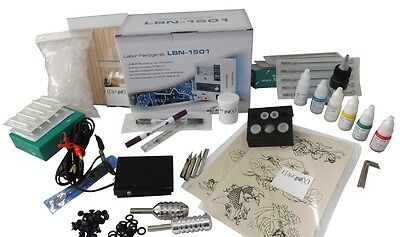 TATTOO LUXUS KOMPLETTSET SET vom PROFI 2xTATTOOMASCHINE INKgrafiX® Farbe Deutsch