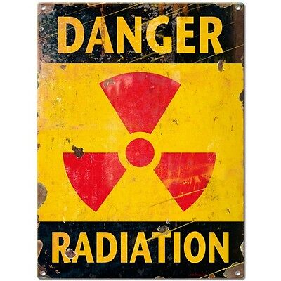 Danger Radiation Symbol Distressed Military Nuclear Metal Sign