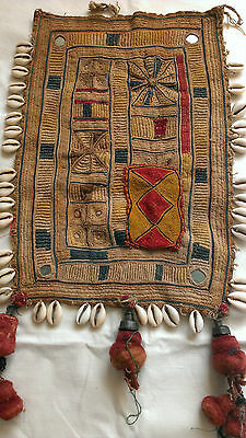 Antique Indian Banjara Tribal Textile Hand Embroidery Cowrie Shells Felt Tassels