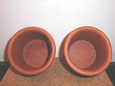 TWO Vintage   Bennington Potters   Round  Bread Bakers   Terra Cotta