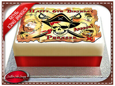 Pirate Treasure Map Edible Icing Image Cake Topper Birthday Party Decoration