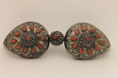Antique Original Perfect Silver Coral Ottoman Belt Buckle