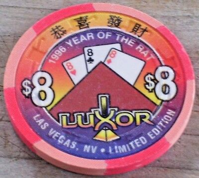 $8 Ltd 1996 Year Of The Rat Gaming Chip From The Luxor Casino Las Vegas Nv