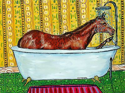 quarter horse bather bathroom 18x24 original oil painting animals impressionism