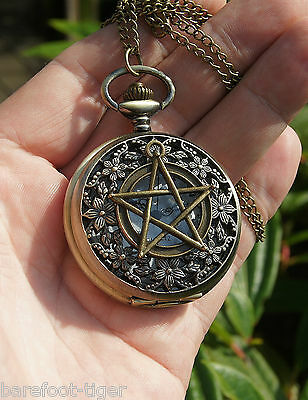 Pentagram Watch Pendant Occult Pagan Wicca Witchcraft. Antique Effect. On Chain