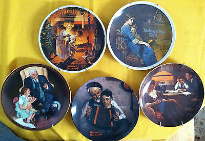 5-Pc Set Norman Rockwell Collector Plates, Numbered, No COA, VERY GOOD CONDITION