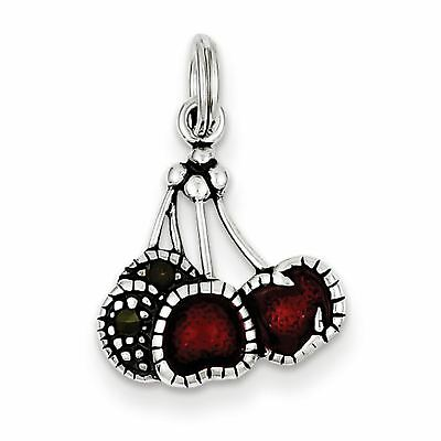 Sterling Silver Solid Enameled Red Cherry Stamped Charm Pendant 16mmx15mm