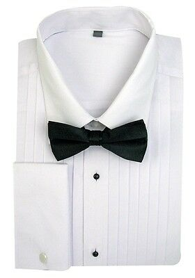 Men's Tuxedo Dress Shirt Point Collar with Bow-Tie French Cuff Size 14.5~20.5