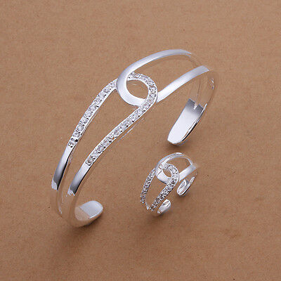 "wholesale Sterling solid silver rhinestone""8"" bracelet&ring Jewelry Sets XLSS401"