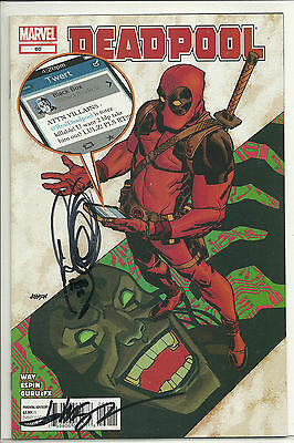 Deadpool #60 2x Signed Daniel Way Dave Johnson Twitter Text Parody Cover